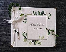 Papiernictvo - Fotoalbum klasický, papierový obal so štruktúrou plátna smotanovej farby s potlačou (Fotoalbum klasický, papierový obal so štruktúrou plátna smotanovej farby s ľudovou potlačou greenery var 3) - 11402251_