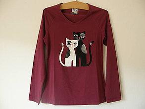Tričká - Tričko s mačičkami (bordové) - 11403361_