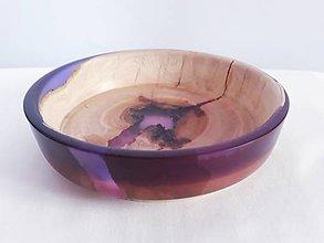Nádoby - Miska platan+fialová dvojfarebná živica - 11405139_