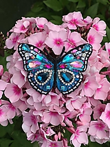 Odznaky/Brošne - Brošnička motýľ modro-tyrkysový :) - 11404362_