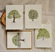 Papiernictvo - pohľadnice - listnatý set 3ks - 11402570_