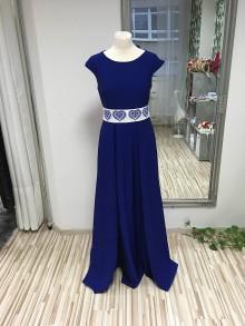 Šaty - Modré dlhé šaty s vreckami - 11402587_