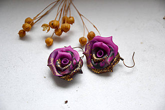 Náušnice - Ruže abstraktné, visiace náušnice - 11402229_
