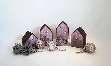 Dekorácie - Drevené domčeky ružové - 11404511_