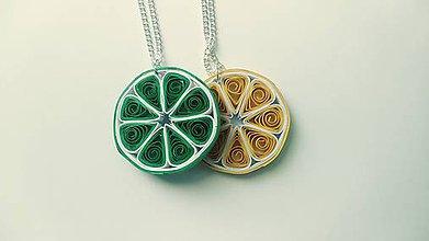 Náhrdelníky - Limetka, citrón - náhrdelník/prívesok z papierových prúžkov - 11402606_