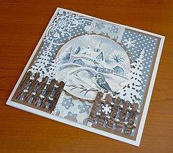 Papiernictvo - Zimná krajinka s plôtikom - 11405486_