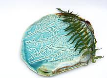 Nádoby - tácka, tanier tyrkysový vzor príroda - 11402675_