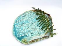 Nádoby - tácka, tanier tyrkysový vzor príroda - 11402678_