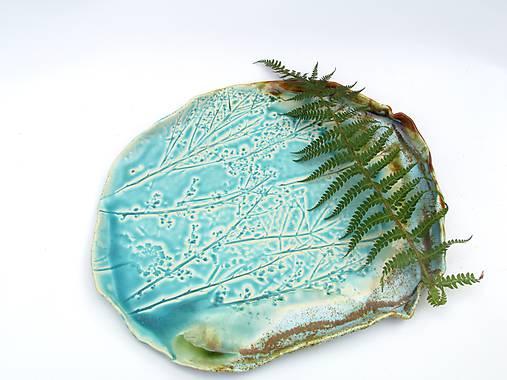 tácka, tanier tyrkysový vzor príroda