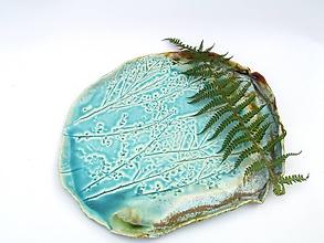 Nádoby - tácka, tanier tyrkysový vzor príroda - 11402679_