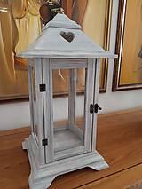 Svietidlá a sviečky - Drevený lampáš v sivom prevedení - 11404616_
