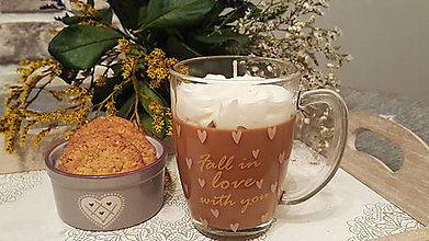 Dekorácie - Cappuccino dekoratívna sviečka - 11404602_