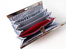 Peňaženky - Peňaženka s priehradkami Červená bodkovaná - 11402275_