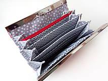 Peňaženky - Peňaženka s priehradkami Červená bodkovaná - 11402278_