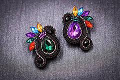 Náušnice - Soutache earrings colorful - 11404869_