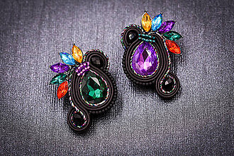 Náušnice - Soutache earrings colorful - 11404869_