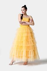 Sukne - Tylová sukňa dlhá volánová žltá - 11406290_
