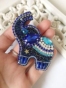 Odznaky/Brošne - Brošňa modrý slon - 11407621_