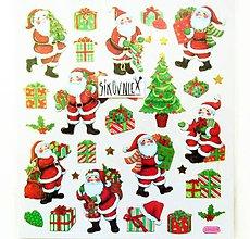 Papier - Vianočné samolepky, 15x17 cm, santa claus, stromček - 11406342_