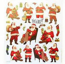 Papier - Vianočné samolepky, 15x17 cm, santa claus, stromček - 11406441_