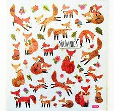 Papier - Vianočné samolepky, 15x17 cm, líška, líštička, listy - 11406736_
