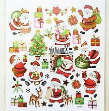 Papier - Vianočné samolepky, 15x17 cm, mikuláš, darčeky - 11406777_
