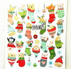 Papier - Vianočné samolepky, 15x17 cm, zvieratká, čiapka, ponožka - 11406889_