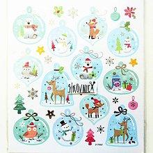 Papier - Vianočné samolepky, 15x17 cm, líška, medvedík, vtáčik - 11406958_