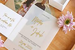 """Papiernictvo - Svadobné oznámenie """"Transparent gold"""" - 11407183_"""