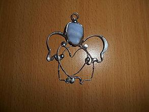 Náhrdelníky - anjel-chalcedón-modrý - 11408678_