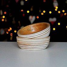 Nádoby - Set drevených dubových misiek biela Ø17 - 11406689_
