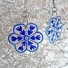 Náušnice - Kytičky modré, nerez - 11406742_
