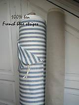 Textil - 100% len French blue stripes...metráž - 11406524_