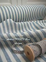 Textil - 100% len French blue stripes...metráž - 11406525_