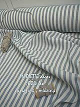 Textil - 100% len French blue stripes...metráž - 11406536_