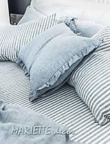 Textil - 100% len French blue stripes...metráž - 11406541_