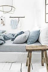 Textil - 100% len French blue stripes...metráž - 11406545_