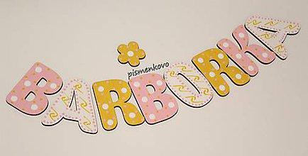 Tabuľky - BARBORKA ružovo žlté meno z drevenných písmeniek - 11408553_