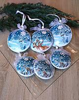 Dekorácie - SADA 6 ks vianočných medailónkov - zimná krajinka - 11406303_