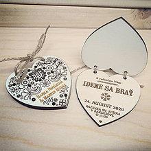 Darčeky pre svadobčanov - Otváracie drevené oznámenie - Folk I. - 11406787_