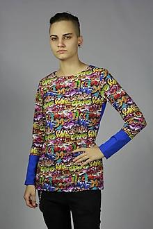 Tričká - Tričko graffity/modrá - 11408324_