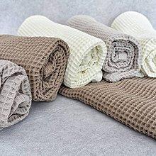 Úžitkový textil - Ručník z vaflové bavlny - přírodní barvy - 11408100_