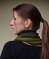 Šály - Nákrčník SPORTY unisex - ZĽAVNENÉ, farba zeleno-čierna, 100% merino - 11406263_