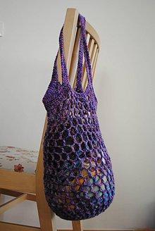 Nákupné tašky - Háčkovaná sieťovka fialová - 11408709_