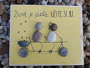 Obrazy - Kamienkáč Dvaja na bicykli - 11407649_