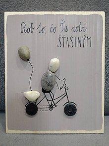 Obrazy - Kamienkáč Šťastný na bicykli - 11407811_