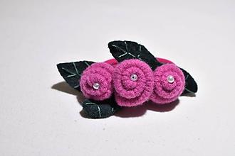 Ozdoby do vlasov - gumka do vlasov - ružové ružičky - 11407938_