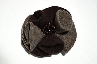 Ozdoby do vlasov - gumka do vlasov - hnedý kvet - 11408072_