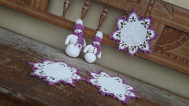 Dekorácie - biela s fialovou - 11407693_