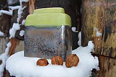 Dekorácie - váza kocka bronzová zelená - 11410373_